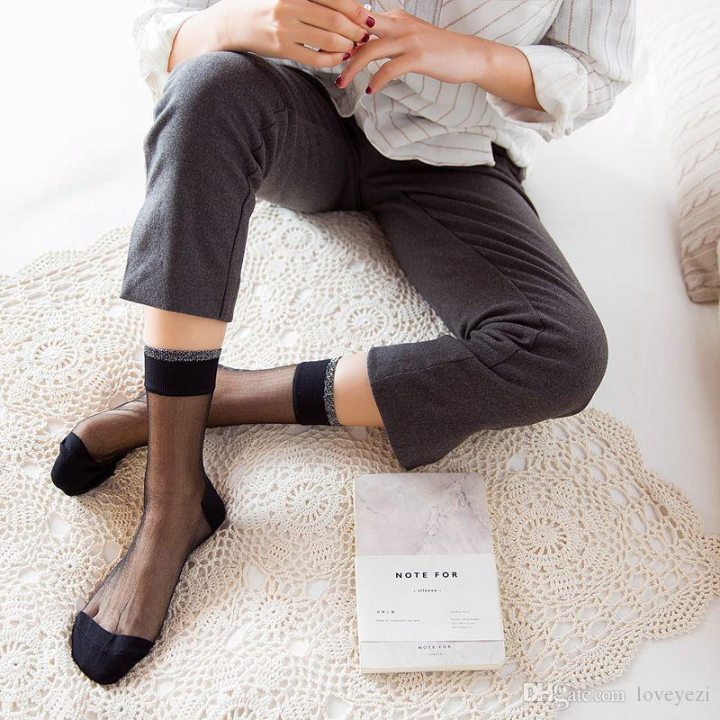 Women Summer Fashion Sexy Crystal Silk Socks Female Transparent Elasticity Nylon Thin Short Socks