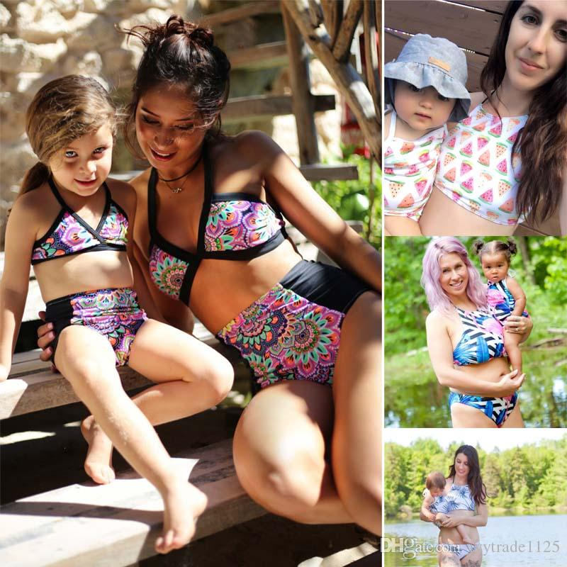 f0d2cf8f02224 Family Beach Bikini Sets Holiday Swimsuits Mother Daughter Family Matching  Floral Watermelon Print Bikinis Sets Free Ship Matching Daddy And Baby  Outfits ...