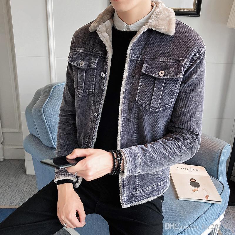 innovative design adf56 9a0a2 Giacca di cashmere nuovo agnello 2018 maschio invernale di velluto a coste  Slim cappotto caldo versione coreana del collo di pelliccia giacca spessa  ...