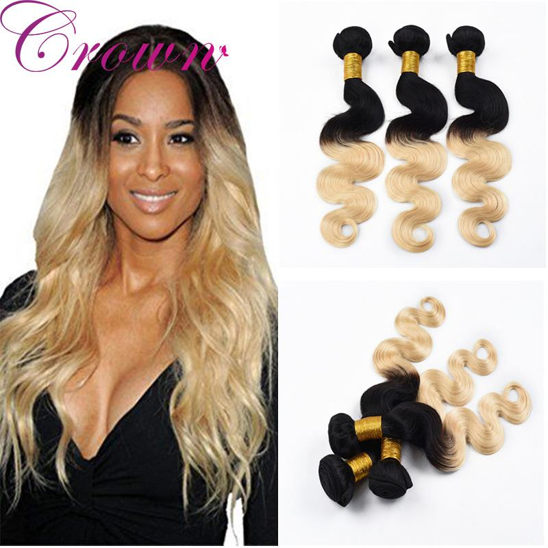 2018 Ombre Hair Weaves 1b613 Body Wave Remy Hair Virgin Brazilian