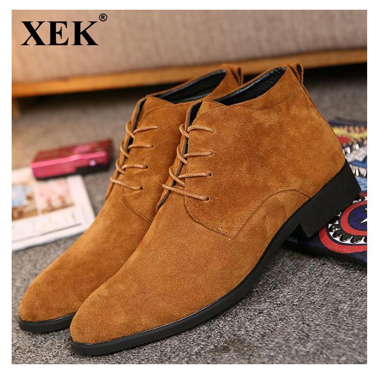 9de7787cc350c XEK Genuine Leather Men Ankle Boots Breathable Men Leather Boots High Top  Shoes Casual Winter Shoes Botas Homme wyq11