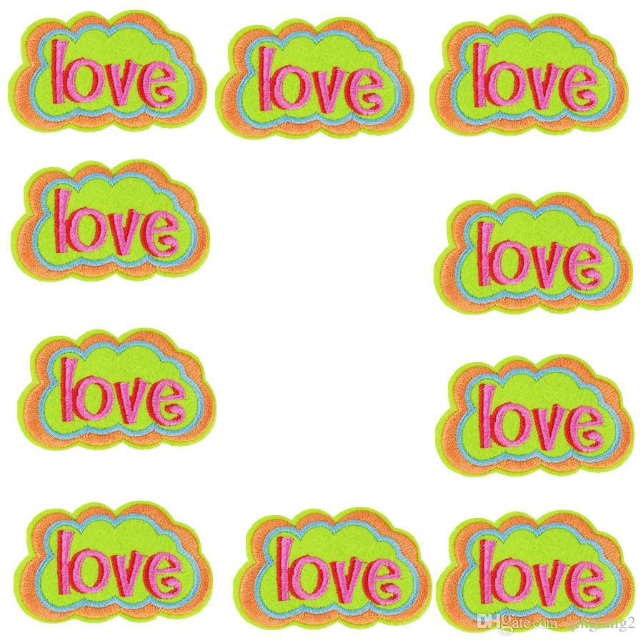 10PCS Love Speech Bubble Patches Accessorie Striped Sew Embroidery Clothing Patches for Hot Melt Adhesive Ironing on T-shirt Patch Diy Craft