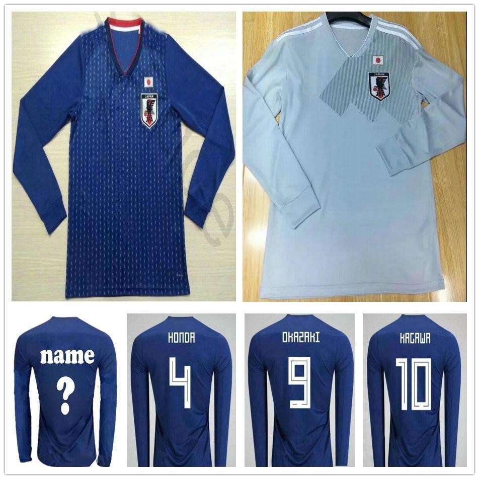 7acfbdfbfd9 2019 2018 Japan Long Sleeve Soccer Jerseys 9 OKAZAKI 10 KAGAWA MORISHIGE  HASEBE TOSHIDA Customize Blue White Home Away Football Shirt From  James 01 shop