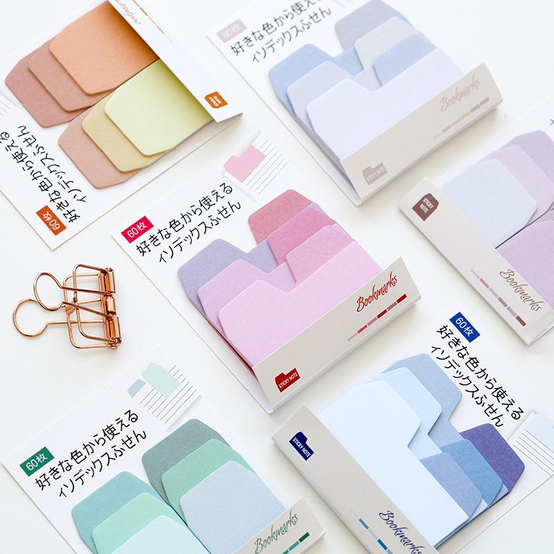 60 sheets Watercolor Gradient Japanese Sticky Note Memo Pad Office Planner Sticker Paper Stationery School Supplies