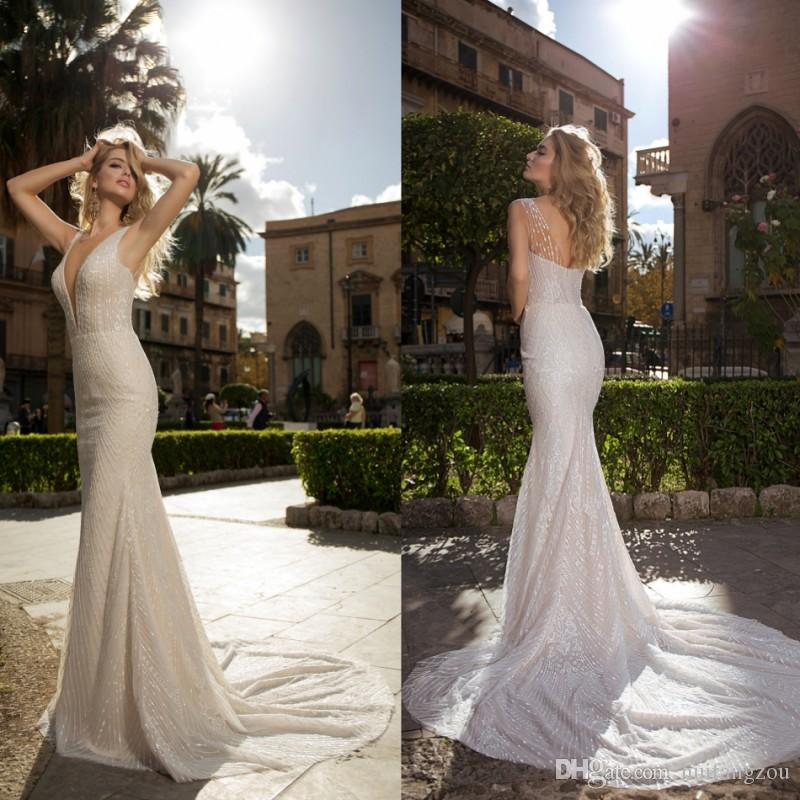 b968a2e1a60 Louise Sposa Shiny Lace Mermaid Wedding Dresses Deep V Neck Sleeveless Sexy  Back Plus Size Bridal Gowns Custom Made Inexpensive Bridal Gowns Knee  Length ...