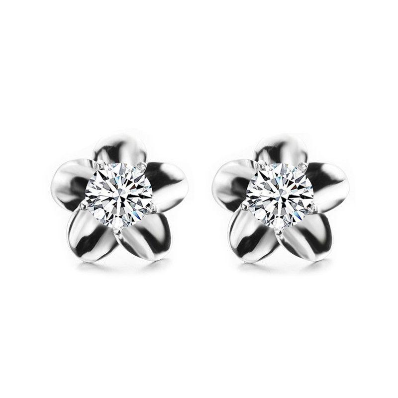 f48a2cbcf Female Round Stud Earrings Flower Earring 925 Sterling Silver ...