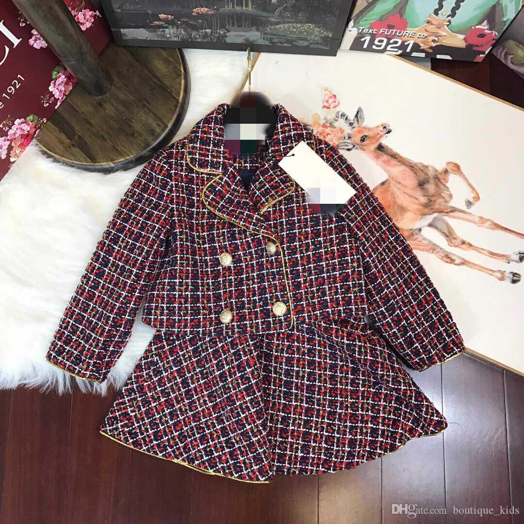 8602d40854f4 Kids Clothing Baby Clothes Sets New Fashion Girls Autumn Winter Classic  Princess Suits Coat+Skirt 2Pcs Elegant High Quality Party Outfits