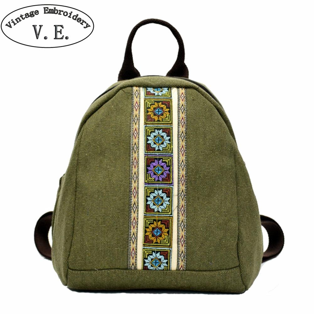 5c61eab79a08 2019 New Women Backpack National Simple Embroidery Canvas Backpacks Ladies  Small Schoolbag Rucksack Travel Beach Shoulder Bags Jansport Big Student  Backpack ...