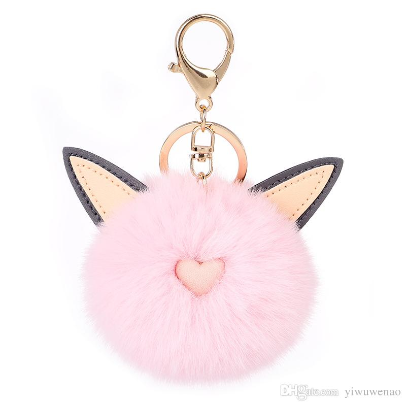 2019 Cute Pink Heart Fur Keychain Fake Fur Ball Key Chain Keyring Bag  Charms Key Ring Women Gift Pom Pom Pendant Hot Sale From Yiwuwenao fc3c7a126