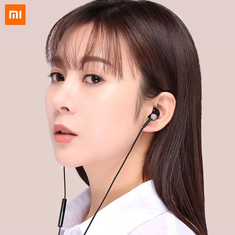 0274192de3f Original Xiaomi Mi Dual Driver Earphone Half In Ear Dynamic PiezoCeramic  Hybrid DC MEM Mic Tenacity Wire Control L Shape Plug Dj Headphones Gaming  ...