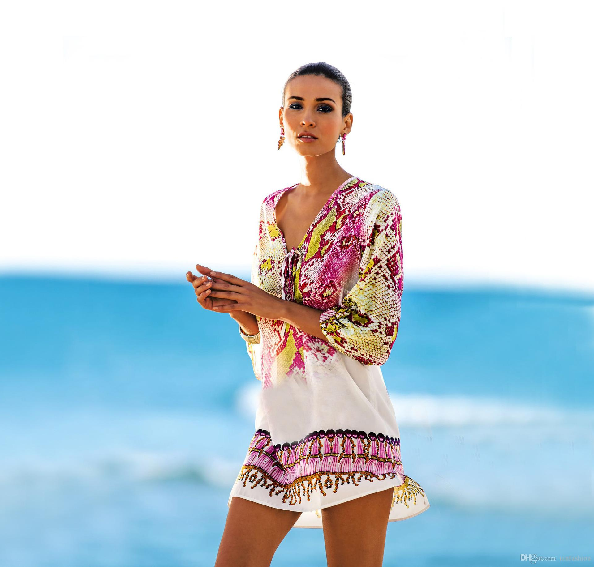 9a31f77fa9 2019 Chiffon Beach Cover Up Ethnic Style Retro Swimwear Women Summer Floral  Print Beachwear Loose Bikinis Wear Cover Ups Hot Sale From Uinfashion, ...