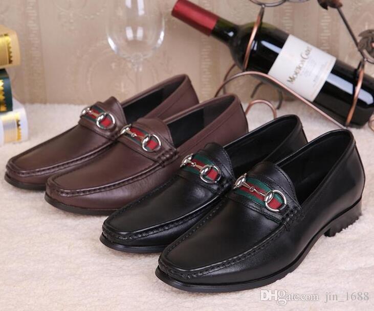 hombres zapatos de boda de cuero genuino hebilla de deslizamiento en negro marrón de alta calidad italiano de lujo de los hombres zapatos de vestir mocasines masculinos