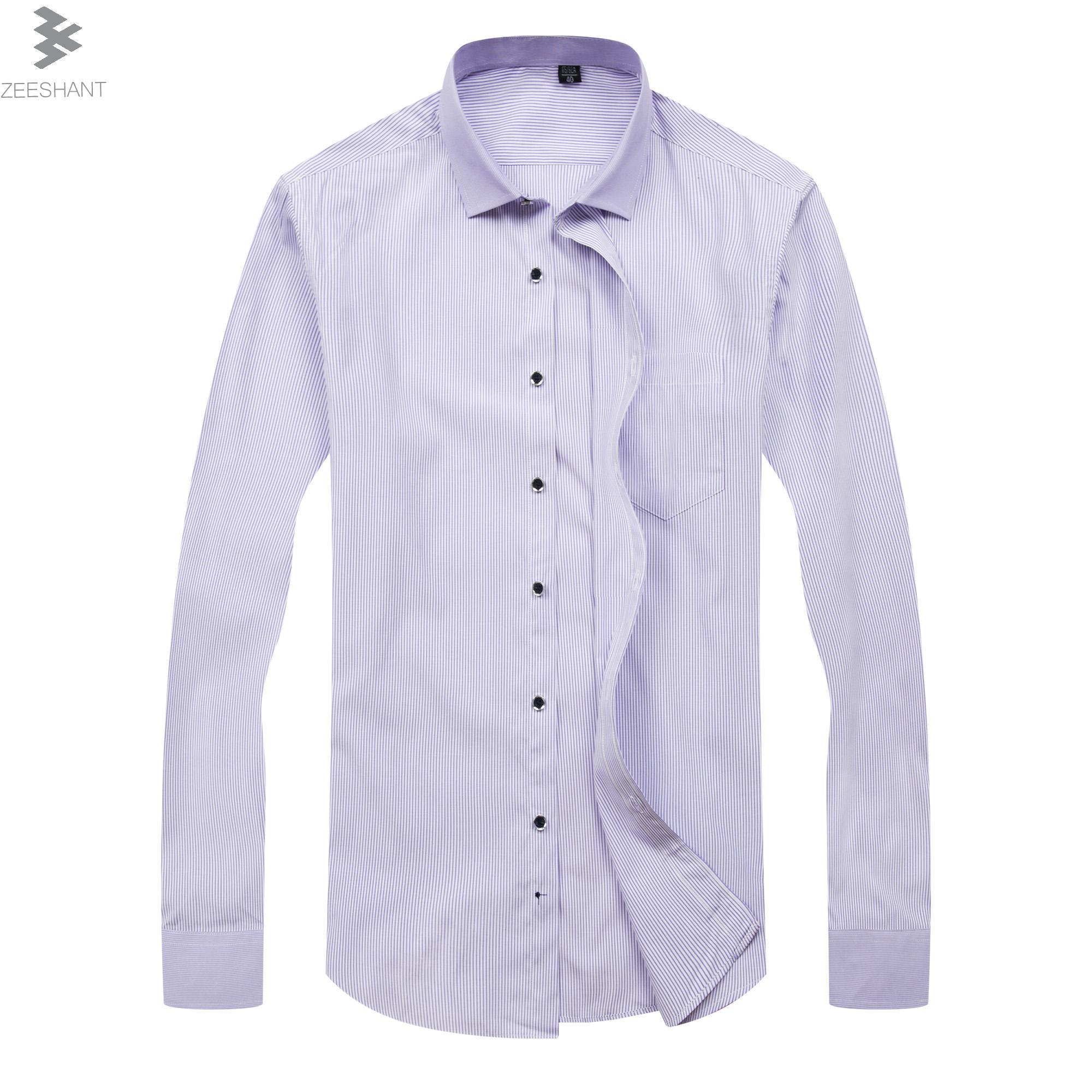 2019 Zeeshant Brand Mens Dress Shirts Long Sleeve Men Shirt Slim Fit