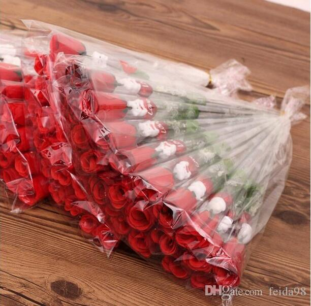 Simulação de Rosa Uma única flor rosas vermelhas Urso dos desenhos animados com um adesivo Dia dos Namorados presente do dia das mães do presente de casamento em forma de coração Suprimentos GA208