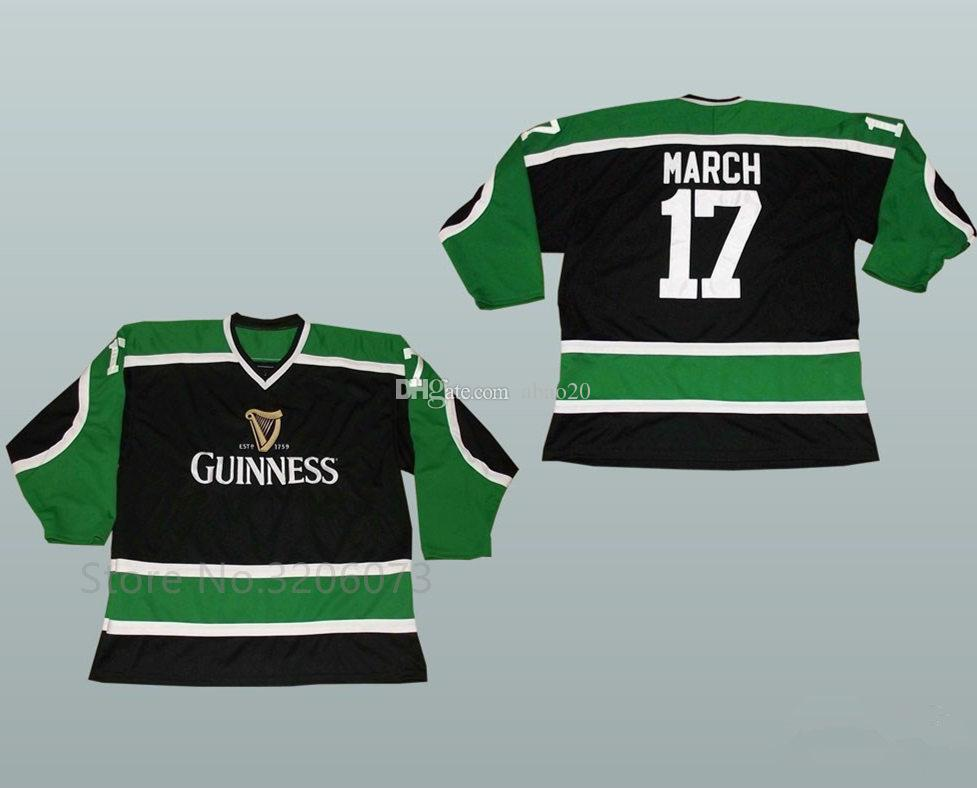 f189a217b Guinness Toucan Black Green and White Hockey Jersey Pick Your Size