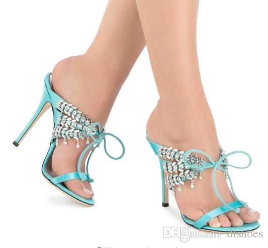 Bling Bling Rhinestone Sandals Gladiator Slip On Thin High Heels Crystal  Sandals Women Shoes Lady Pumps Walking Sandals Sandals From Dlshoes
