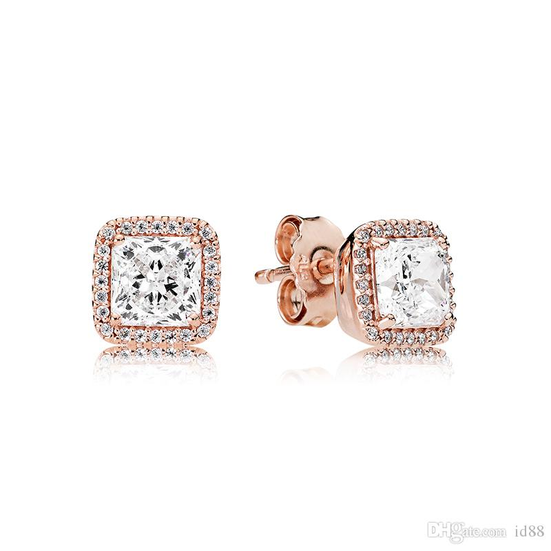 c96fe7fb9 2019 Authentic Square CZ Diamond 18K Rose Gold Earrings Original Box For  Pandora Eternal Elegance 925 Sterling Silver Stud Earring From Id88, ...
