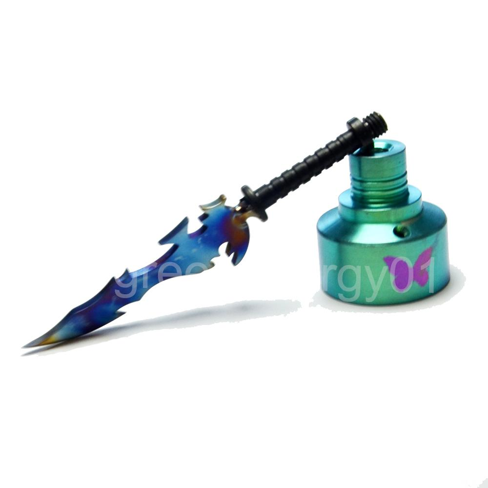 Titanium Nail Dabber Kit 14mm 18mm Carb Cap Wax Dab Carving Tool Sword Butterfly Marked