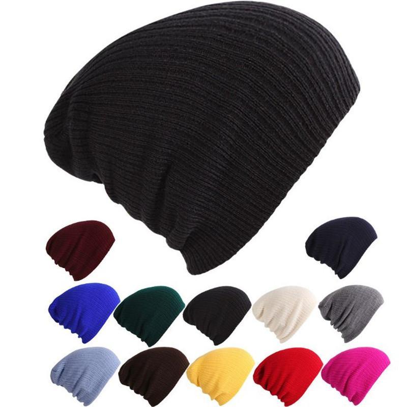 Casquette tricotée pour femmes style simple automne hiver hommes chapeau tricoté chaud casquettes crâne acrylique Bonnets solide couleur Hip-Hop chapeaux DHL acc2158
