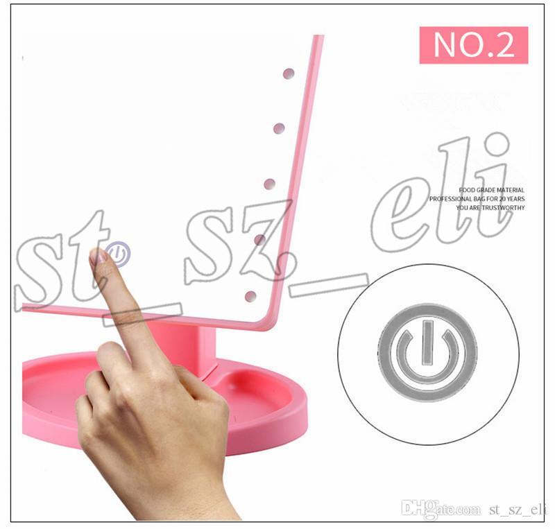 360도 회전 터치 스크린 메이크업 LED 미러 화장품 접는 휴대용 컴팩트 포켓 22 LED 조명 메이크업 미러