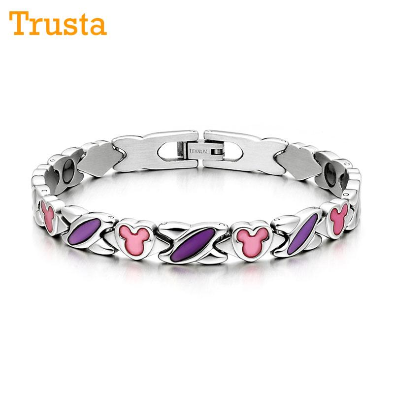 2019 Trusta Fashion Women Purple Germanium Titanium Steel Power Energy Therapy Bracelet Bangle Birthday Gift Girlfriend Wife TG4604 From Tiebanshao