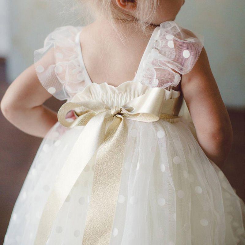 2019 Принцесса Чай Длина Платья Девушки Цветка Квадратный Колпачок Рукав С Бальным Поясом Платья Девушки Первое Причастие Платье