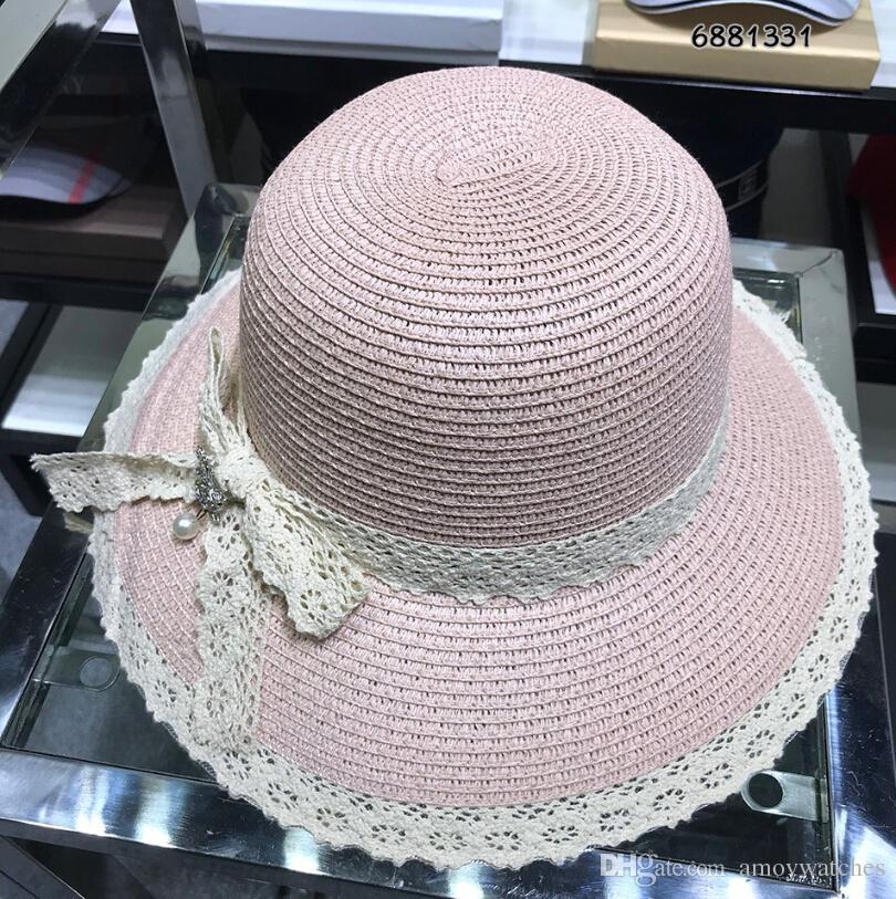 2e28b825142 Women Fashion Casual Hats Caps Pink Lace Cc Luxury Design Brand Wide ...