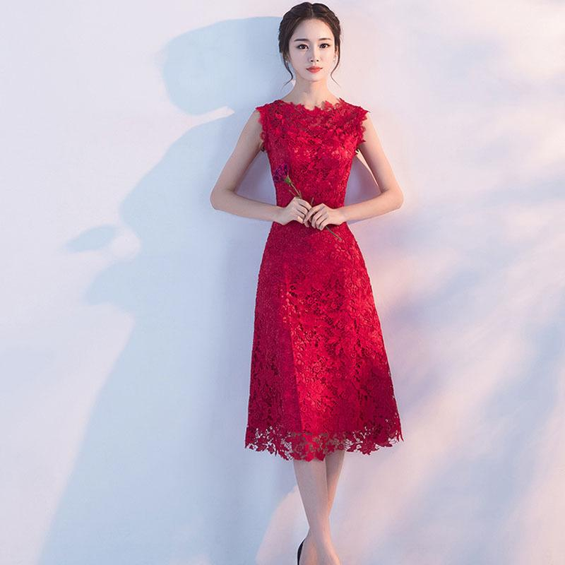 50fd8eaf6 2019 Chinese Dress Qipao Red Wine Party Dresses Bride Cheongsam Dress 2017  New Lace Evening Oriental Wedding Gowns Vestido From Hongyeli, $71.27 |  DHgate.