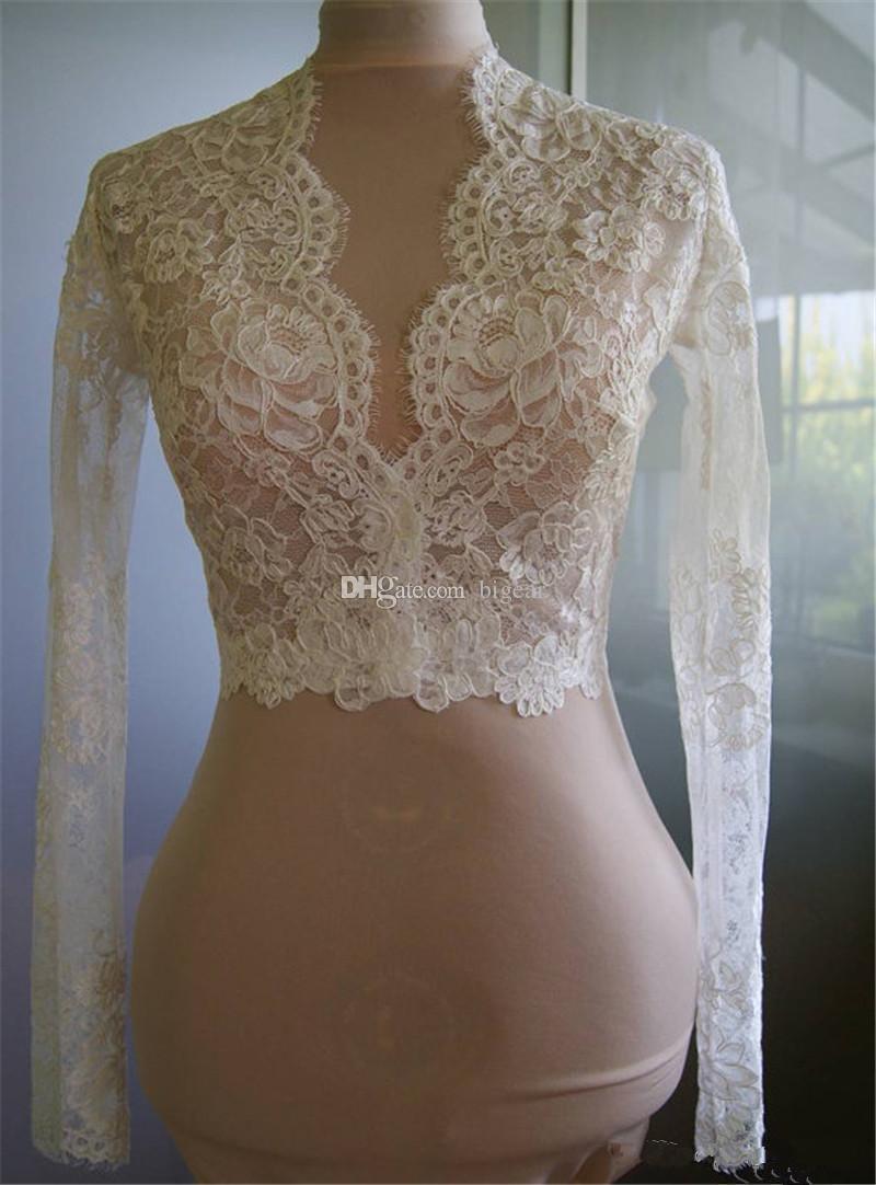 Bolero court en dentelle avec des manches longues mariée Wraps pour les mariées Blanc / Ivoire mariage mignon Wraps de mariée avec bordure de cils
