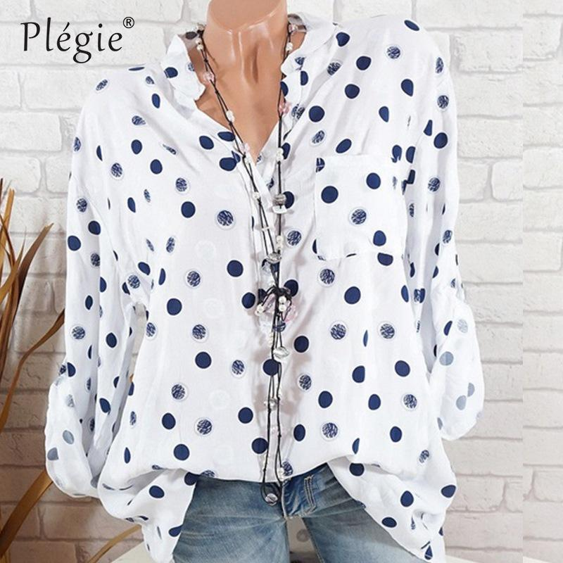 eb5fd8997d382 2019 Plegie Plus Size Polka Dot Print Blouse Women 2018 Summer Long Sleeve  Loose Shirt Blouse Womens Tops And Blouses Drop Shipping From Cailey, ...