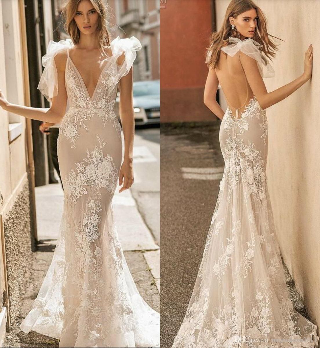2019 Berta Wedding Dresses Deep V Neck Sexy Backless Straps Sweep Train  Modest Mermaid Wedding Dress With Lining Beach Bridal Gowns Sexy Wedding  Gowns ... 00801c56cf5a