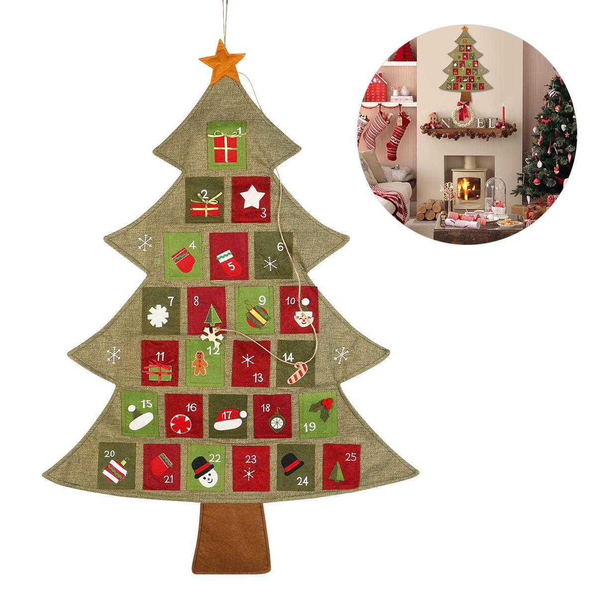 2019 Merry Christmas Advent Calendar Wall Hanging Noel Xmas ...