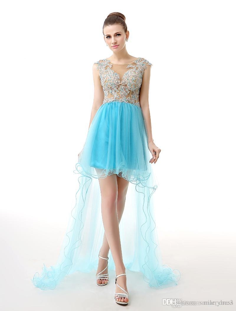 53168898e8f Blue Cheap High Low Homecoming Dresses Scoop Sheer Neck Short Lace Appliques  With Beads Prom Graduation Dresses SH0018 Sexy Gowns Shop Dresses Online  From ...