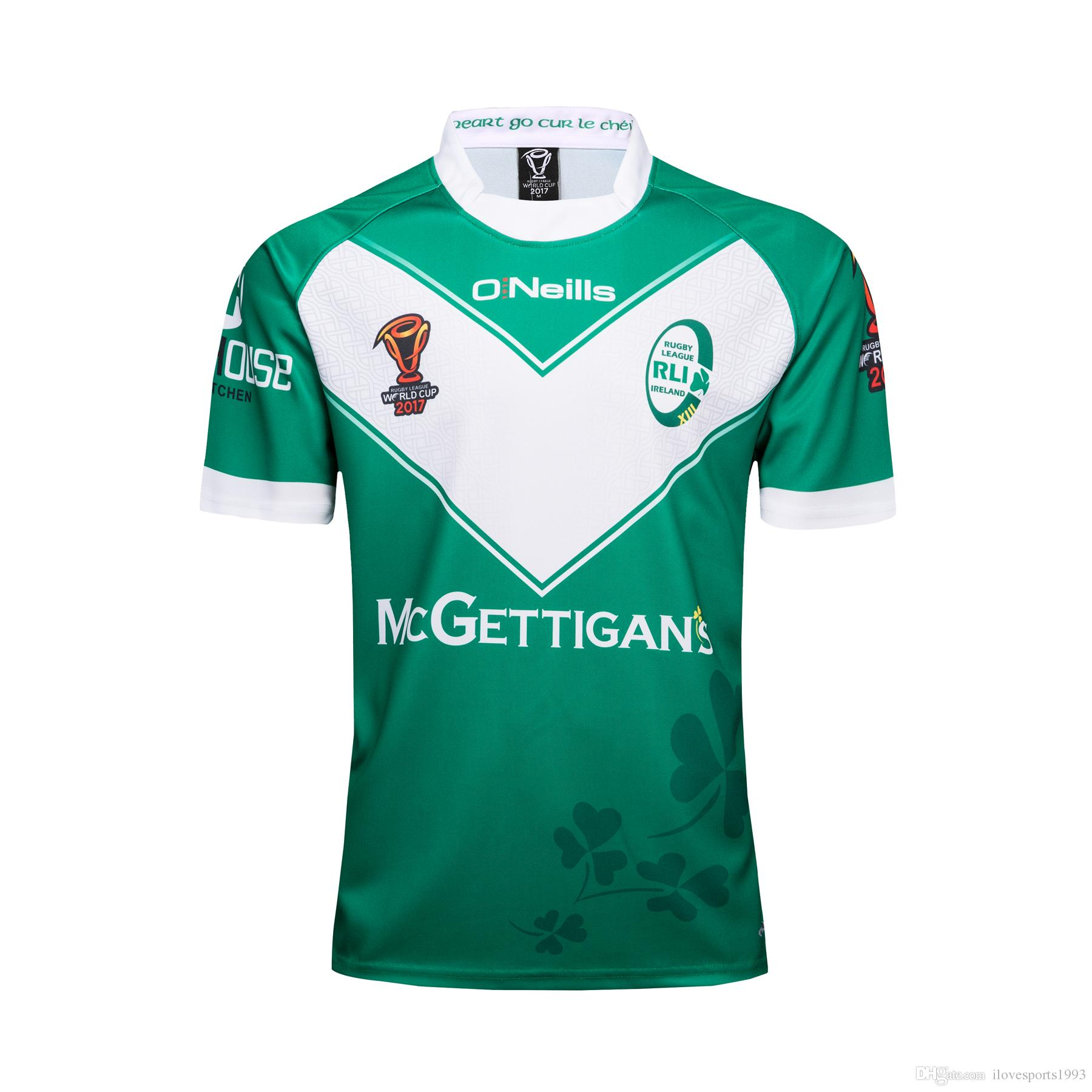 0676d07b8bf IRELAND RUGBY LEAGUE WORLD CUP 2017 HOME JERSEY 2018 Irish IRFU Rugby  Jersey Irish green Rugby shirt Size S-3XL