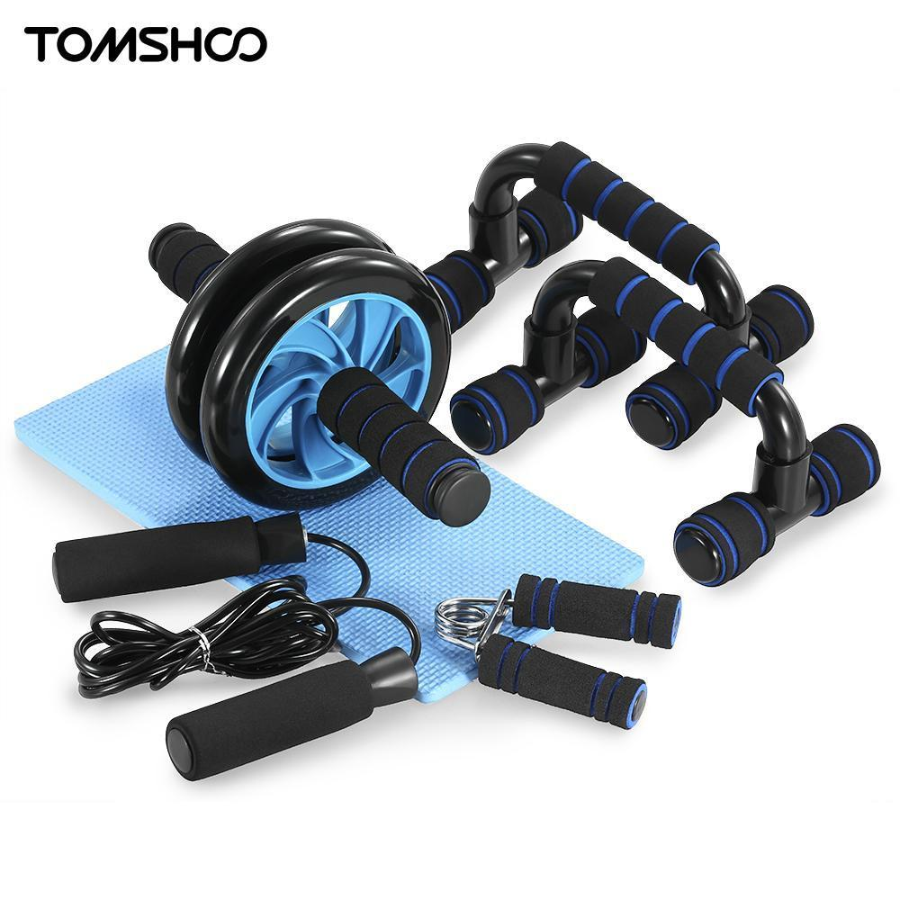 2018 TOMSHOO 5-In-1 Hand Gripper Hand Grips AB Wheel Roller Jump Rope  Push-Up Bar Knee Pad Abdominal Workout Gym Fitness Equipment