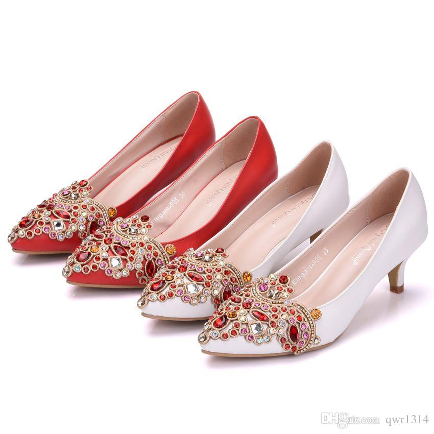 New Fashionl White pointed toe shoes for women 5cm heels Rhinestone Flowers wedding shoes small thick heel shoes Plus Size