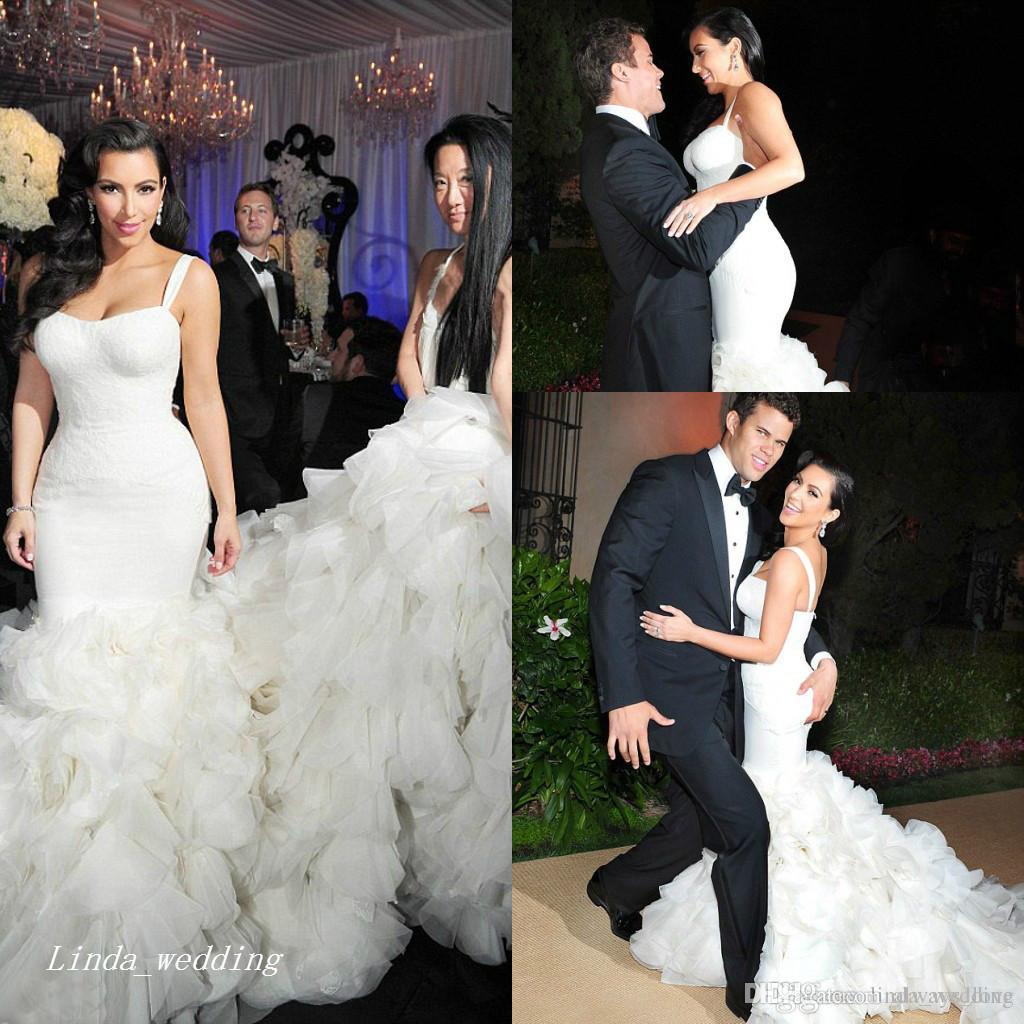 04e9e792db Luxury Kim Kardashian Wedding Dresses Sexy High Quality Mermaid Organza  Ruffle Formal Long Bridal Party Gowns Brides Dresses Cheap Wedding Dresses  Under 100 ...