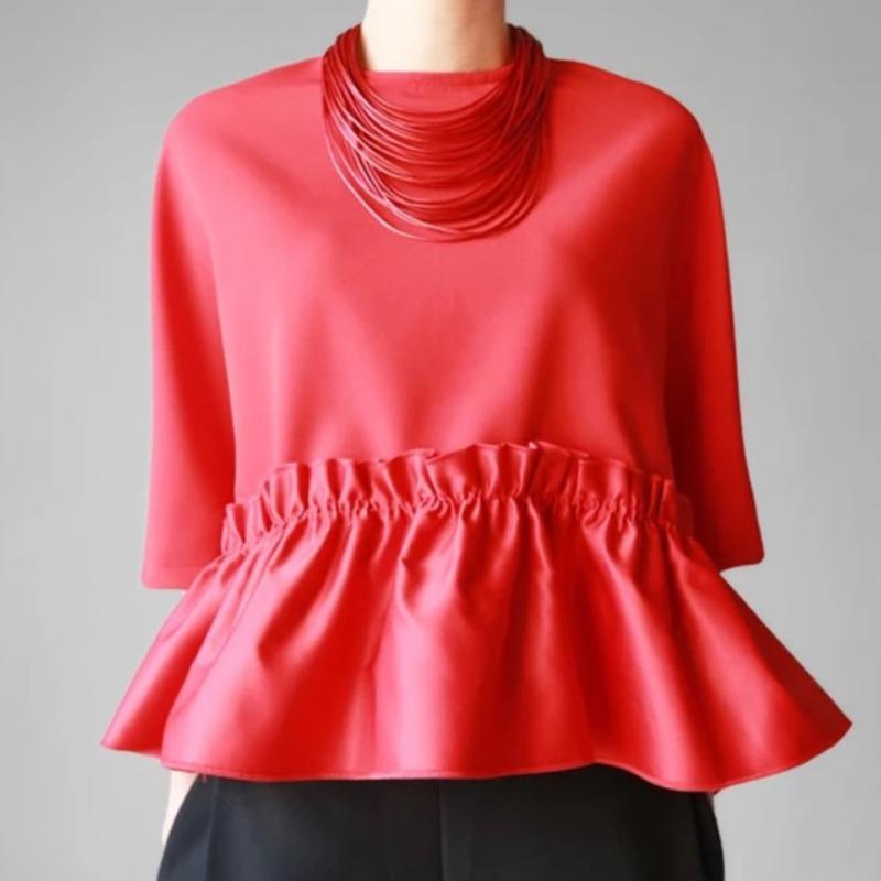 ac15ef1b01c46e QLZW 2018 Summer Autumn New Fashion Ruffles O Neck Short Sleeve Casual Style  Pullovers Loose Fold Women S T Shirt KB189 Buy Tshirt Political Shirts From  ...