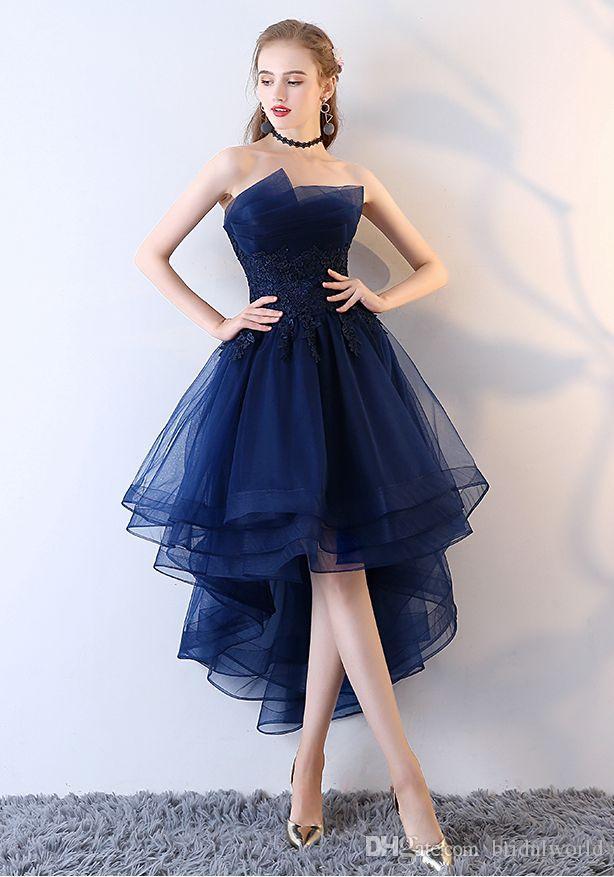 Caminhe Ao Lado De Você Azul Marinho Vestidos de Noite Curto Frente Longo Voltar Vestidos de Festa de Renda Applique Sem Alças vestidos de festa Formal Vestidos de Baile