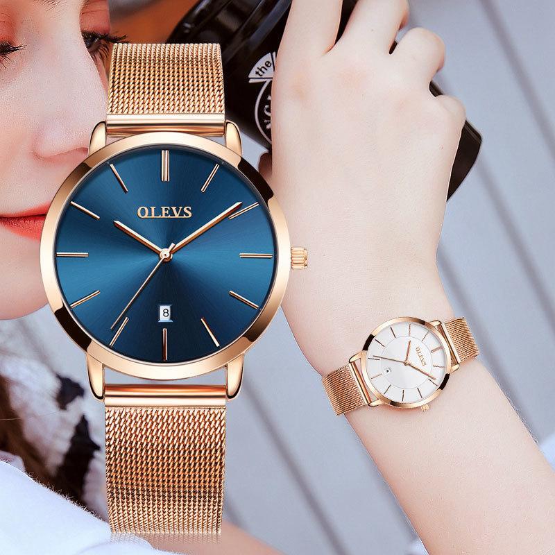 8b894eee4683 Compre OLEVS Marca Mujer Reloj 2018 Relojes Mujer De Lujo Señoras Correa De Acero  Dorado Fecha De Cuarzo Relojes Casual Reloj De Pulsera Impermeable ...