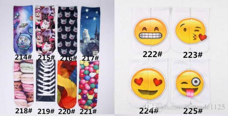 Plus de 500 Styles 3D Emoji Licorne Motif Chaussettes Femmes et Grands Enfants Chaussettes 3D Meias Feminina Drôle Bas Chaussettes Unisexe