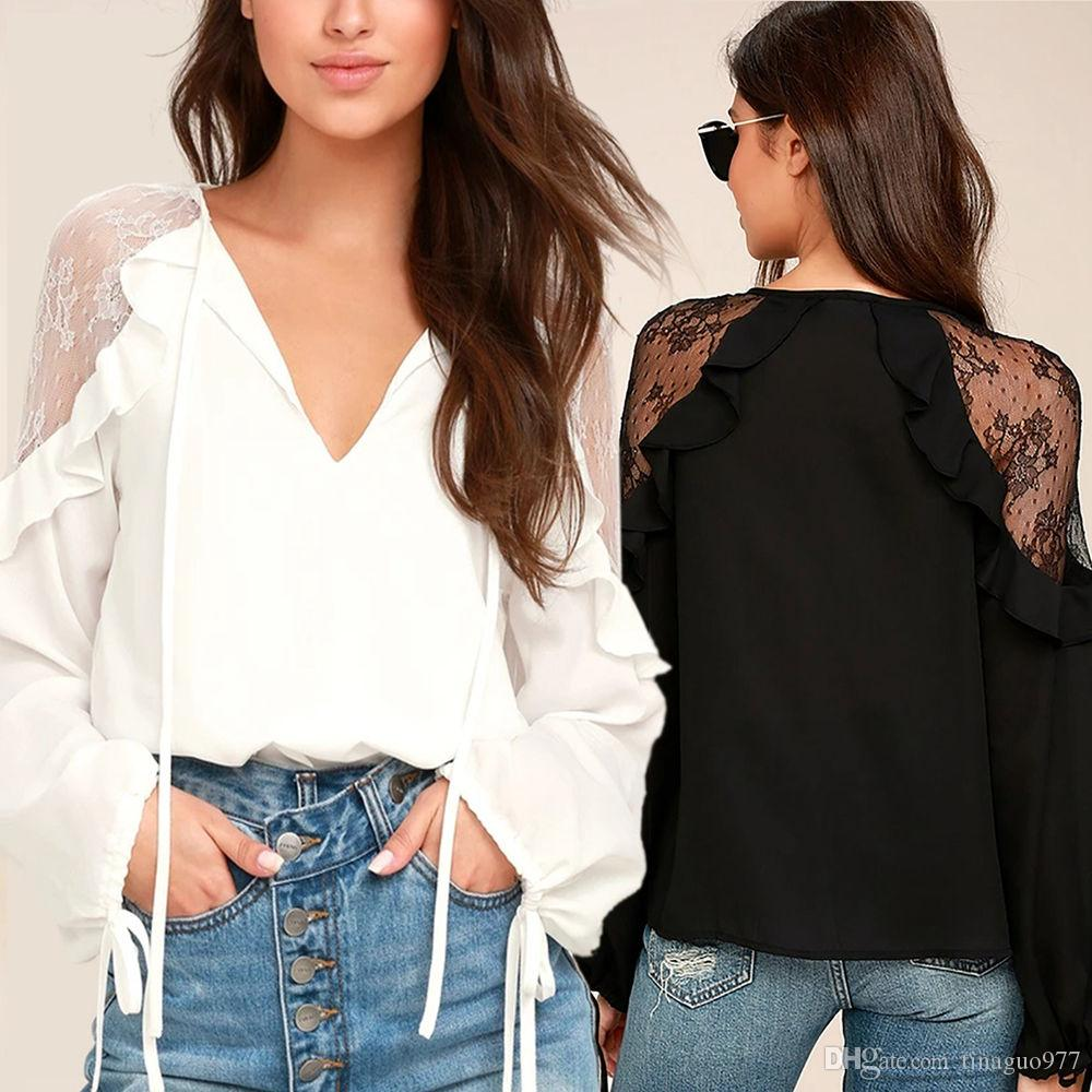 8ed00f29abbb52 2019 Chiffon Womens Blouses Long Sleeve Lace Patchwork Fall Clothes V Neck  Ruffle Tops White Black S XL From Tinaguo977, $11.07 | DHgate.Com