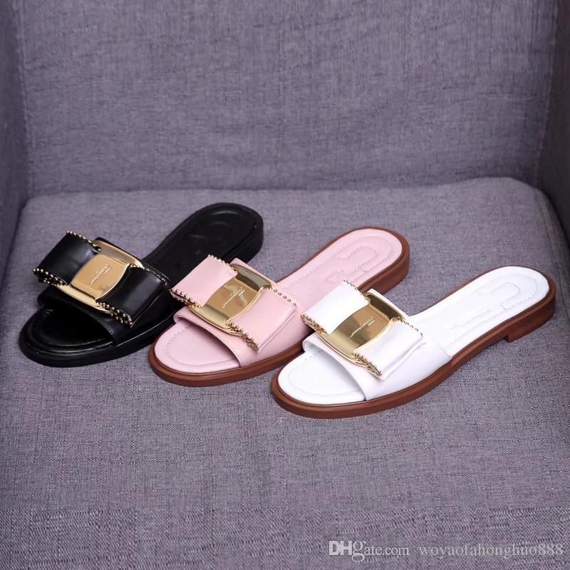ee7860aa1278b6 Bow Tie Comfortable Outdoor Flat Sandal New Women Sandals Summer ...