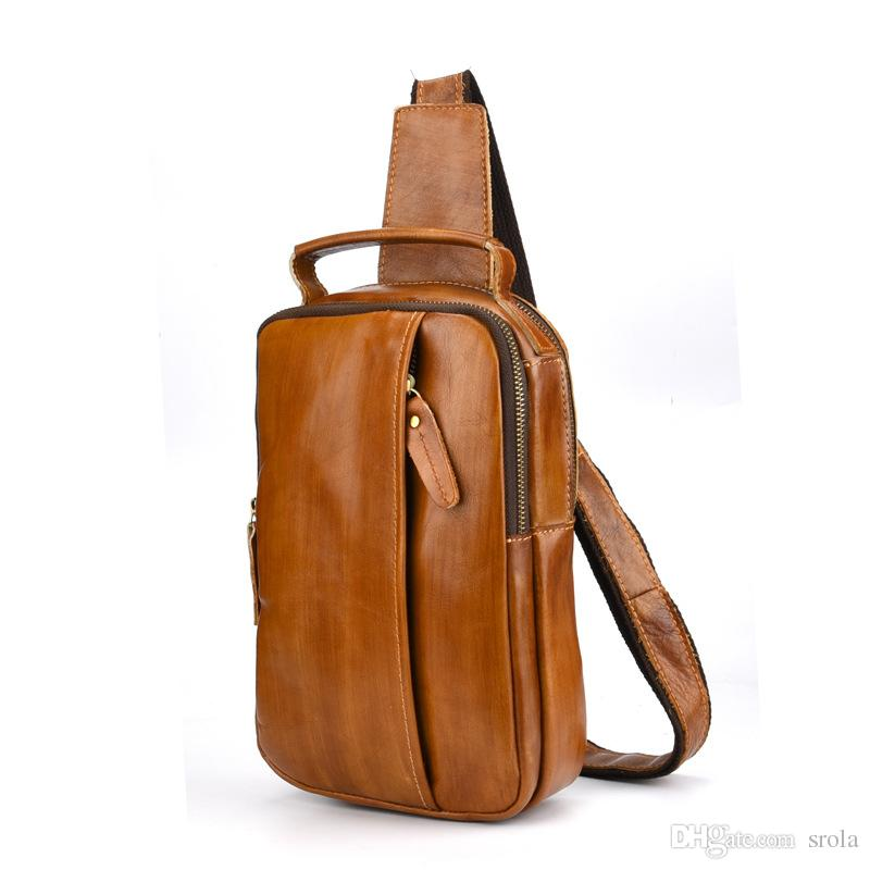 a89dee6457 Men s Leather Chest Bag Fashion Vintage Sling Bags High Quality ...