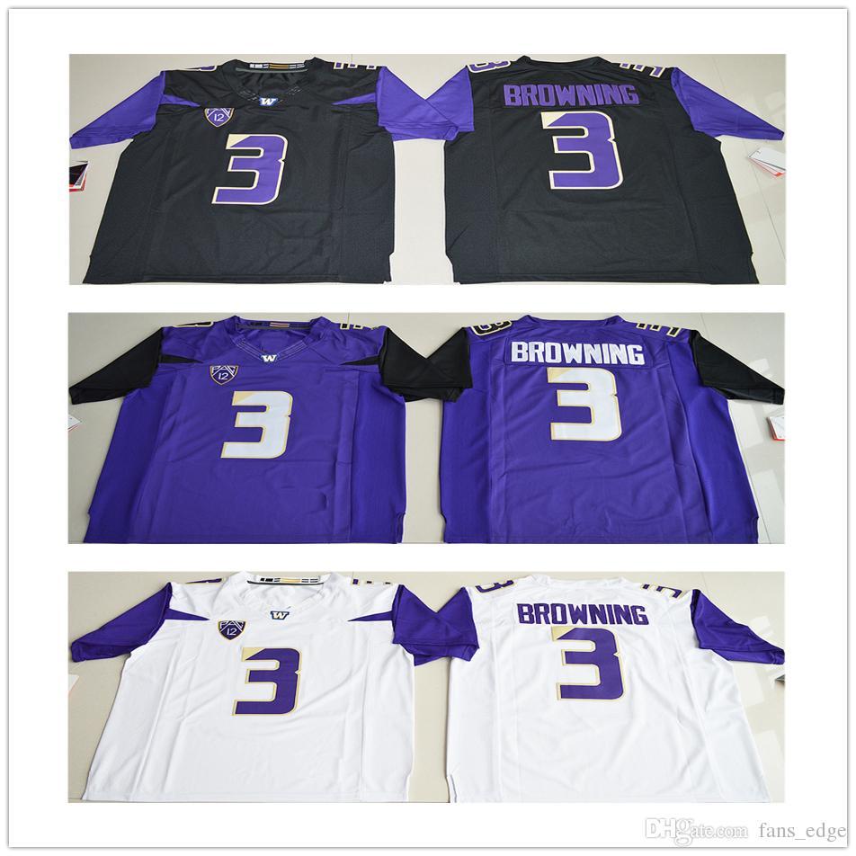 NCAA Washington Huskies College  3 Jake Browning Jersey Black White ... 502ec3d47