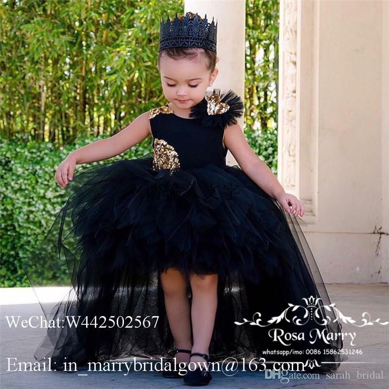 Gothic Black High Low Mädchen Festzug Kleider 2020 Ballkleid Gold Pailletten Puffy Tüll Günstige Mädchen Geburtstag Prom Party Kleider Für Jugendliche