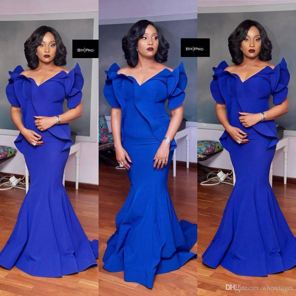 Gorgeous Long royal blue Mermaid Evening Gowns 2018 Satin Fishtail ruffles ruched Special Occasion formal Prom party Dresses For Women