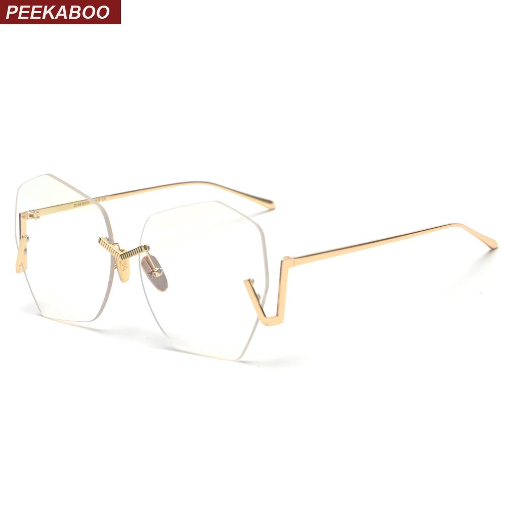 5ebca52c7040 2019 Peekaboo Gold Rimless Eyeglasses Frame Women Metal 2018 Fashion Big  Clear Lens Frameless Glasses Women Vintage Accessories From Gocan