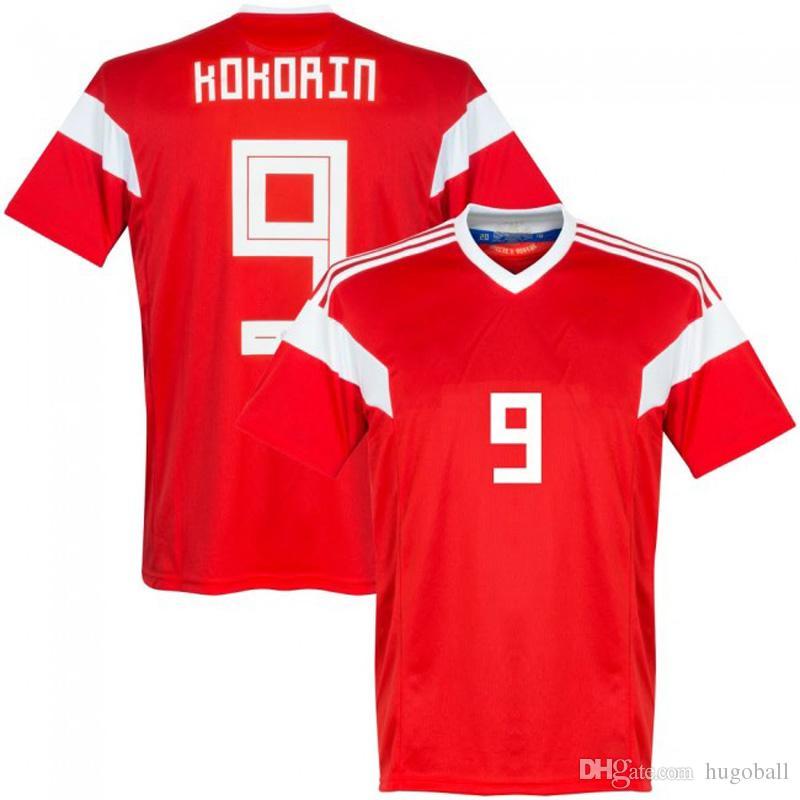 Compre Fãs Versão Rússia 2018 Copa Do Mundo De Futebol Em Casa Jersey 11  Smolov 10 Dzagoev Camisa De Futebol De Alta Qualidade De Hugoball a9051524c3d03