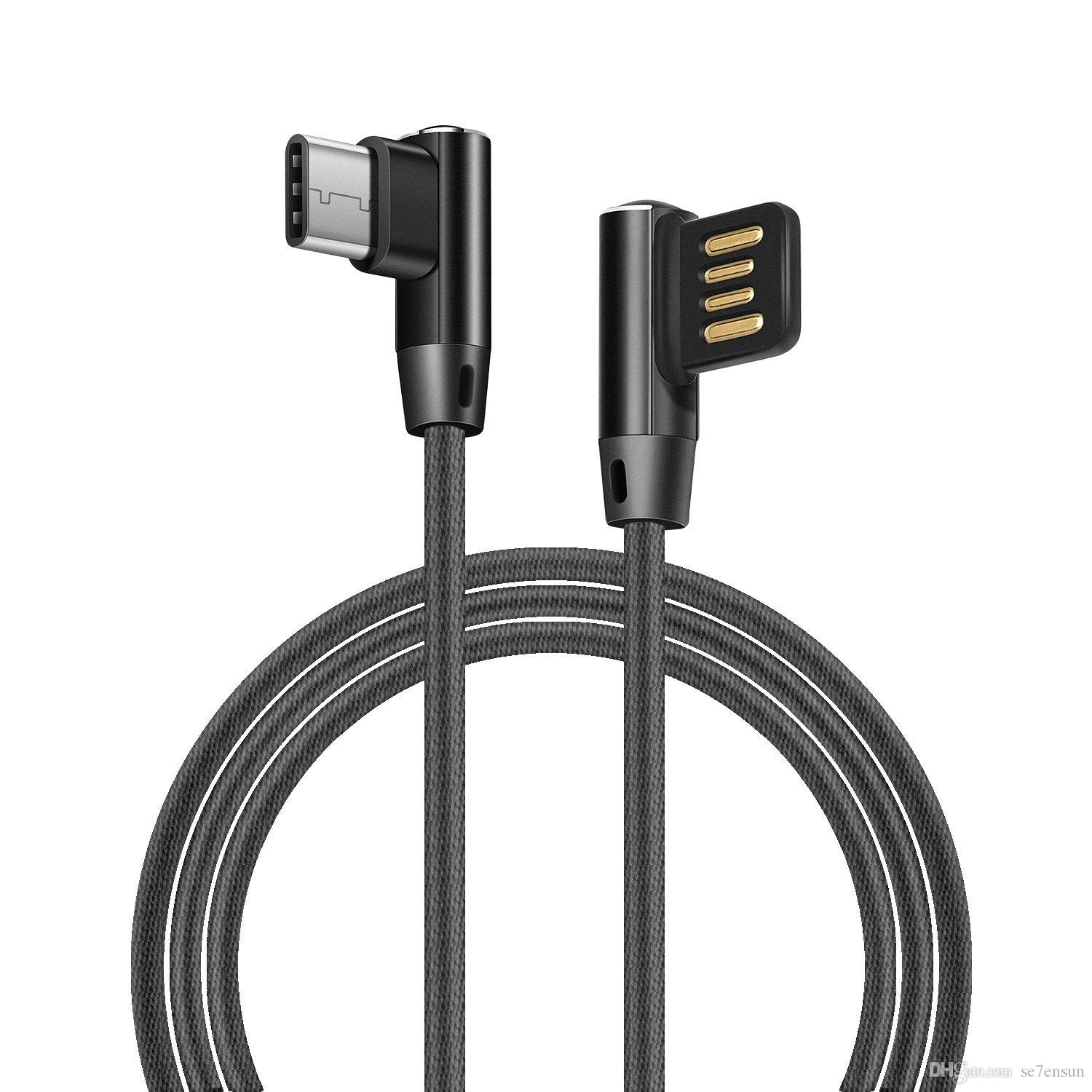 Usb Type C Cable 2a Fast Charging For Samsung S8 Plus 90 Degree Kabel Xiaomi Data Xiomi Original Reversible Micro L Bending Nylon Cord Mobile Cables Phone From